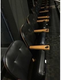 Lot of 10 used Auditorium or Home Theater black leatherete club seats