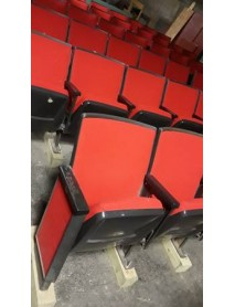 Lot of 75 black movie theater auditorium chairs with cup holder armrests with red fabric