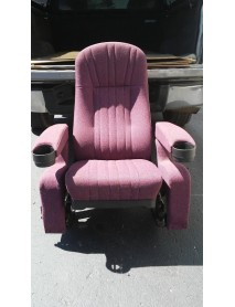 Lot of 25 Black Theater Chair with Mauve Fabric, lift up upholstered cupholder armrest, true rocker